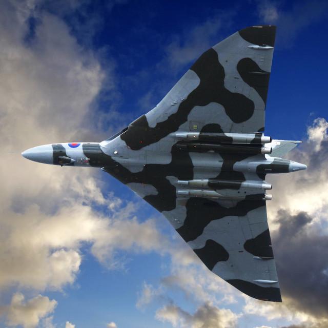 """Avro Vulcan bomber in flight"" stock image"