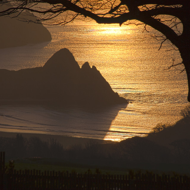 """Three Cliffs Bay Gower"" stock image"