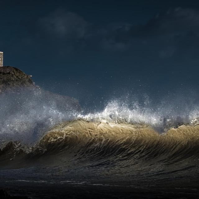 """""""Light on a wave at Bracelet Bay"""" stock image"""