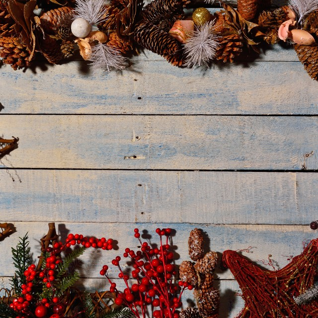 """Christmas decorations and wooden table."" stock image"