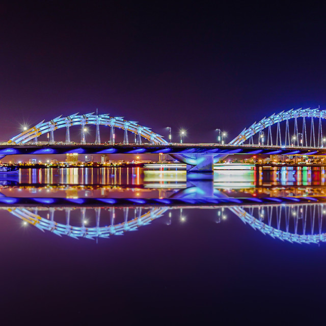 """Dragon Bridge at night"" stock image"