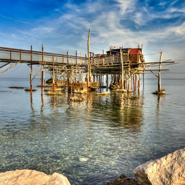 """""""Trabocco (fishing house) Punta Cavalluccio, Rocca San Giovanni (CH) Italy"""" stock image"""