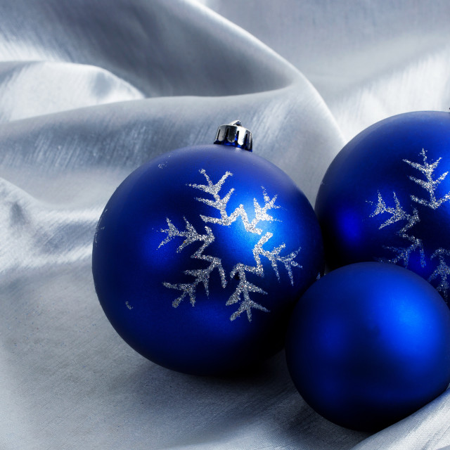 """Christmas balls on a silver background"" stock image"