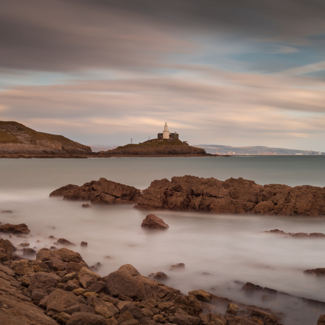 """""""Bracelet Bay and Mumbles lighthouse"""" stock image"""