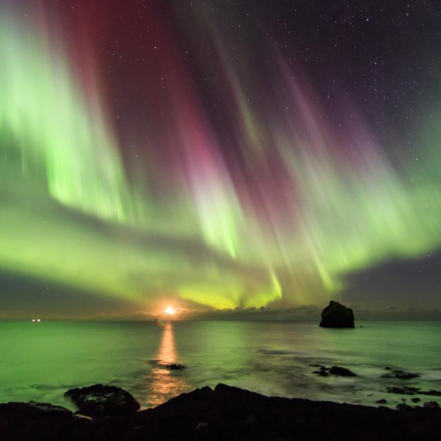"""Moonset at Reykjanes II."" stock image"