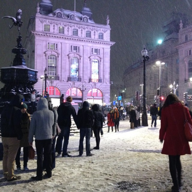 """""""Snowy Night In Picadilly Circus, London"""" stock image"""