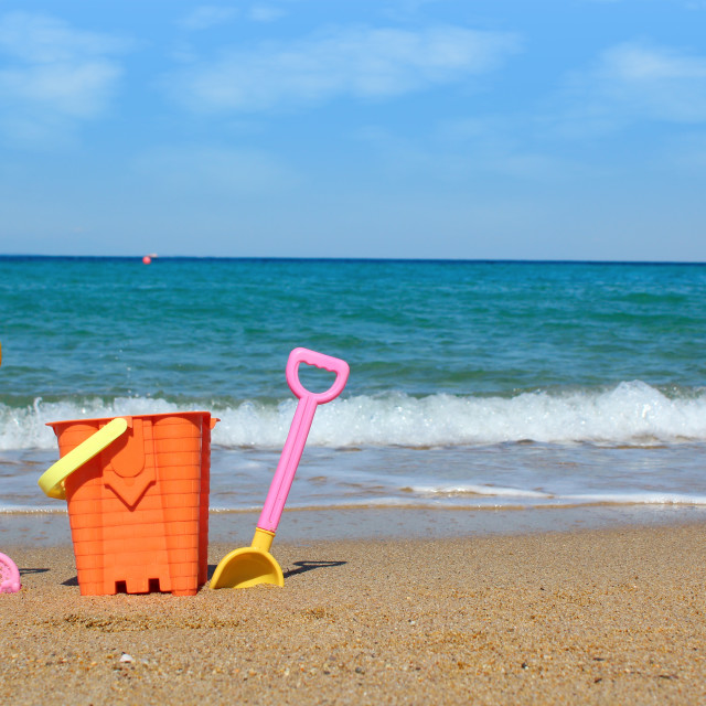 """beach with toys summer scene"" stock image"