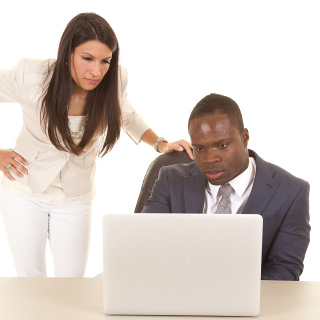 """business man and woman computer serious"" stock image"