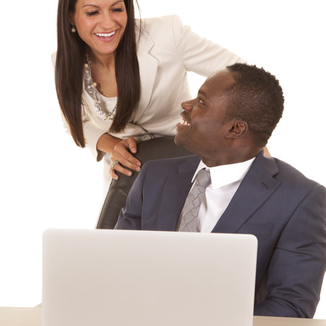 """business man and woman computer happy"" stock image"