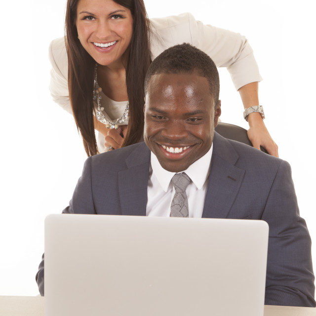 """business man and woman computer smile"" stock image"