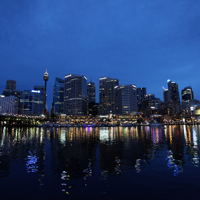 """Darling Harbour Sydney at night"" stock image"