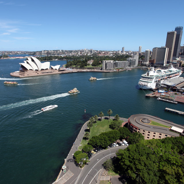 """Sydney harbour from the bridge"" stock image"