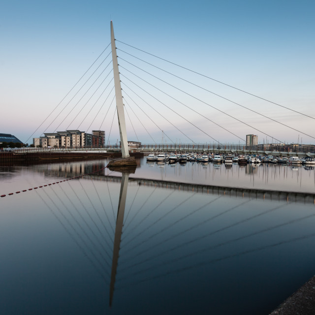"""Swansea marina and millennium bridge"" stock image"