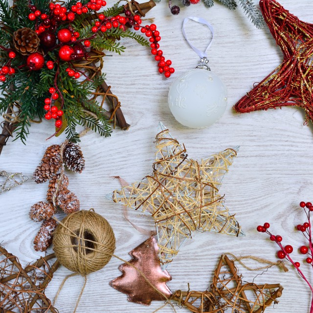 """Different handmade Christmas tree decorations"" stock image"
