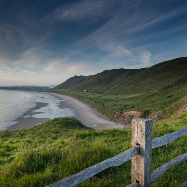 """""""Viewing Rhossili Bay"""" stock image"""