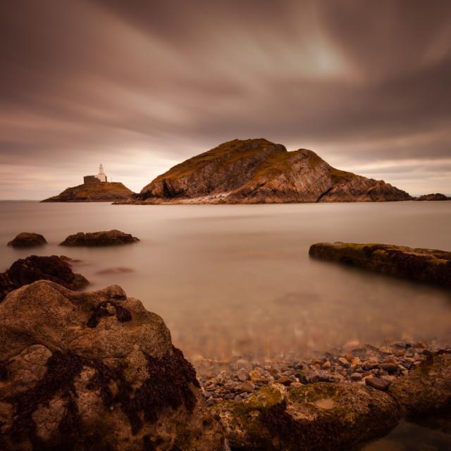 """""""Mumbles lighthouse Swansea Bay"""" stock image"""