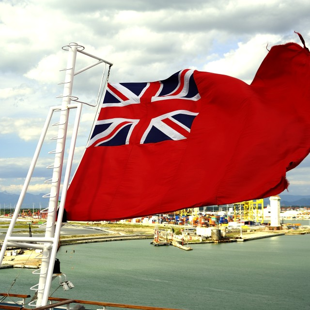 """""""Red Ensign in the wind"""" stock image"""