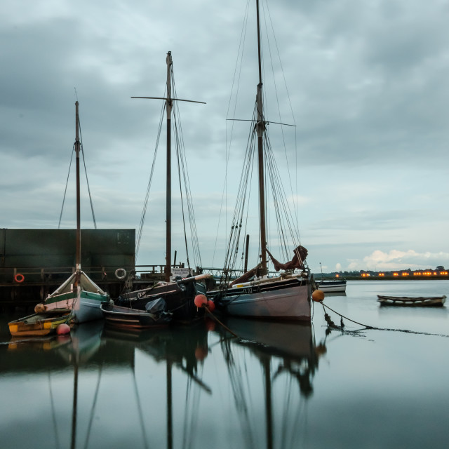 """Grey day at the Smack Dock"" stock image"