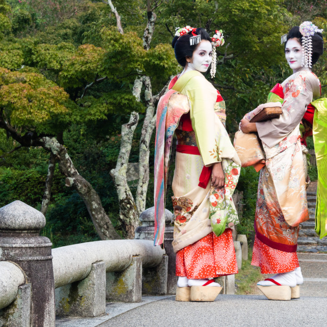 """Two geishas in a Japanese garden"" stock image"