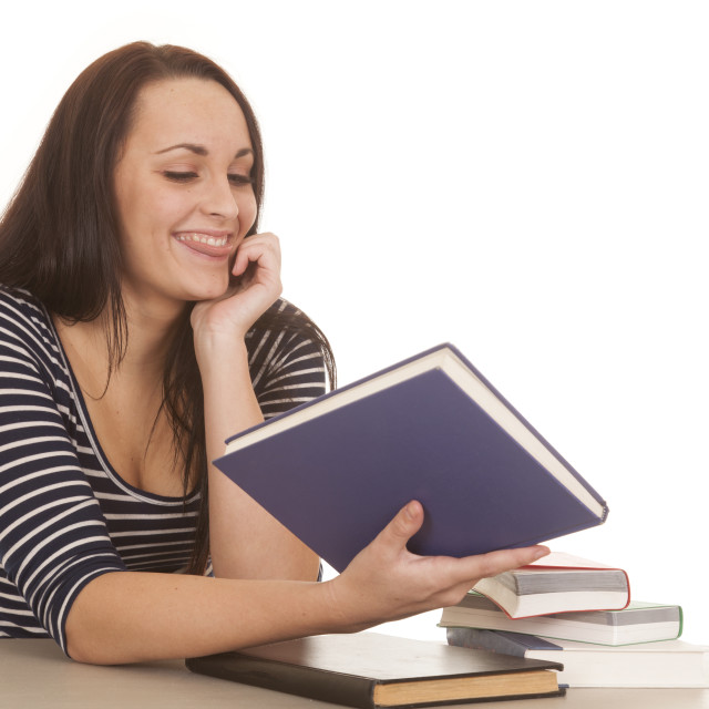 """woman stripes books tongue out"" stock image"