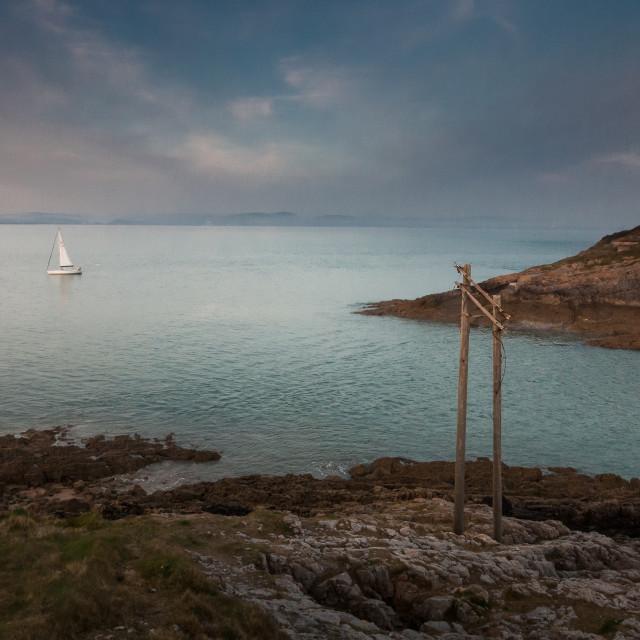 """""""Mumbles lighthouse Swansea"""" stock image"""