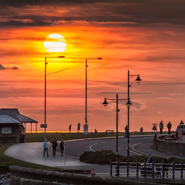 """Sunset at Porthcawl"" stock image"