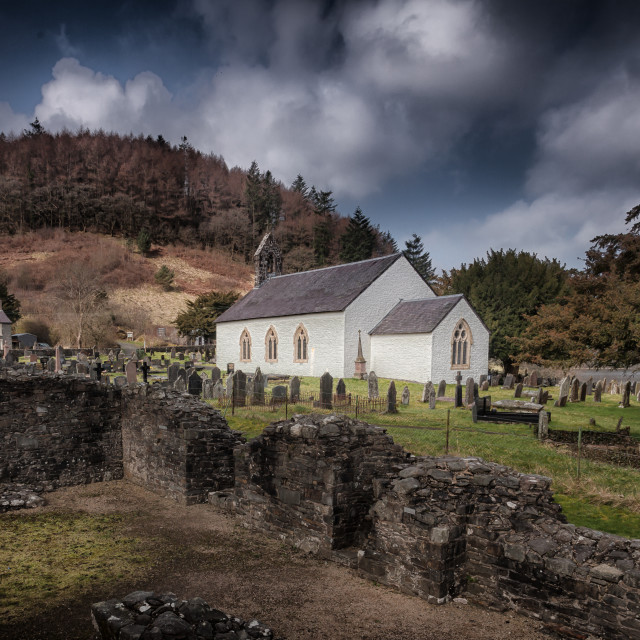 """St Michael's church in Talley"" stock image"