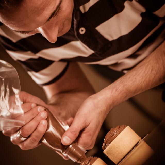 """Pastry in his workshop preparing Chocolate Cakes"" stock image"