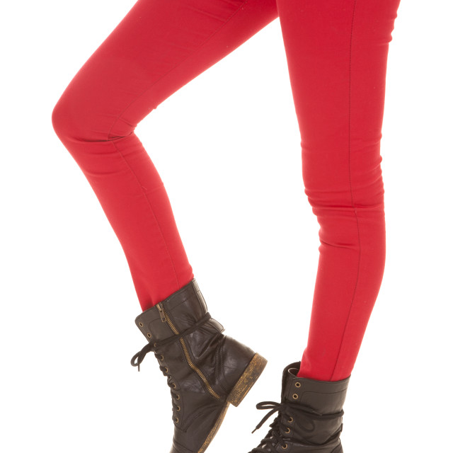 """red pants woman legs boot"" stock image"