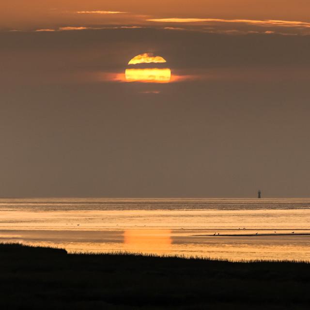 """Loughor estuary sunset"" stock image"