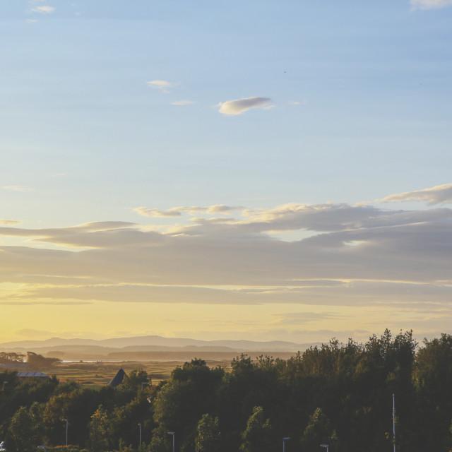 """Sunset on golf links"" stock image"