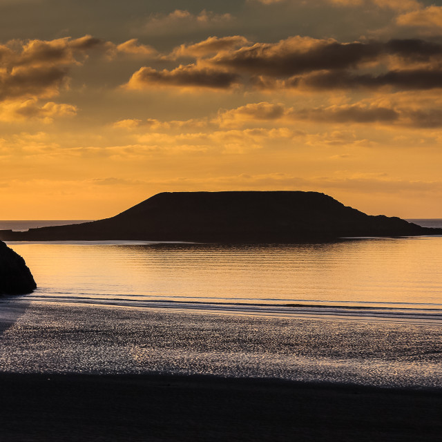 """Sunset at Worm's head"" stock image"