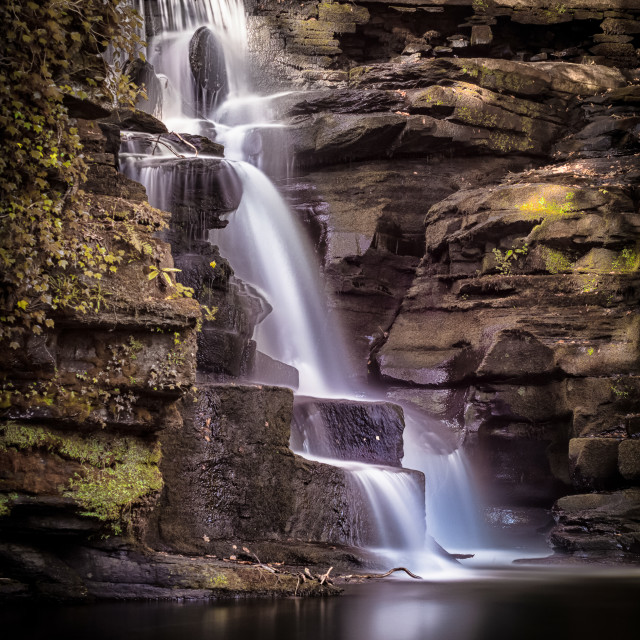 """River Clydach waterfalls"" stock image"