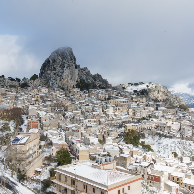 """Caltabellotta in snow"" stock image"