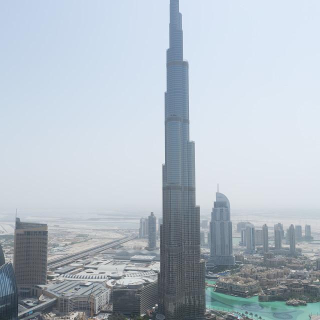 """The burj Khalifa shot from the roof of the al hikma tower, dubai, uae"" stock image"