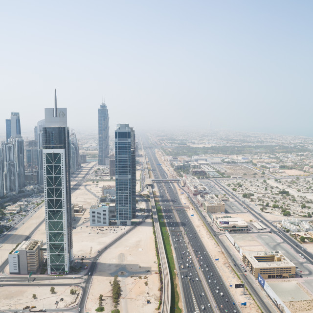 """""""sheik zayed road photographed from the al hikma tower rooftop"""" stock image"""