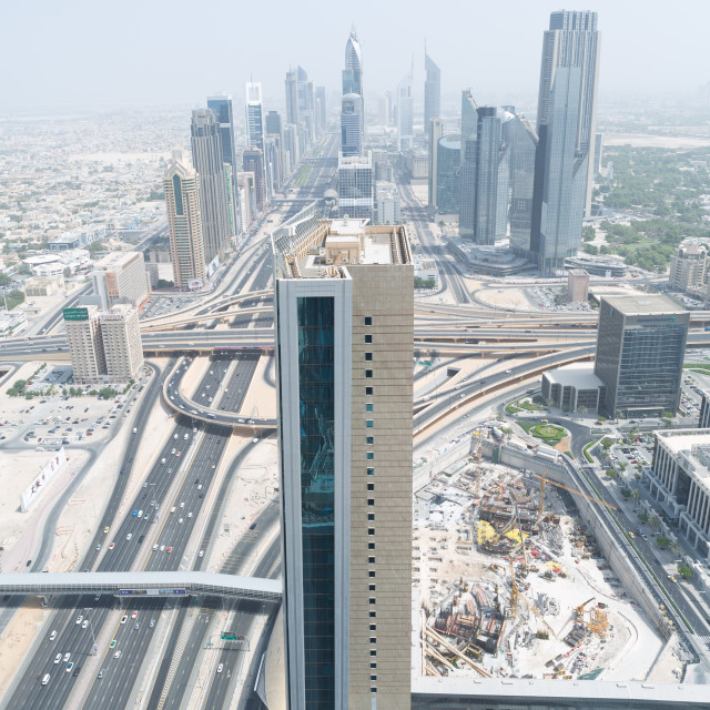 """""""sheik zayed road and downtown photographed from the al hikma tower rooftop"""" stock image"""