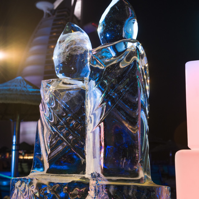 """""""exquisite hand made ice sculpture at a beach brunch in dubai, use"""" stock image"""