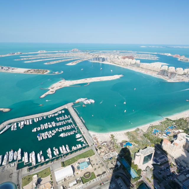 """Jumeirah Palm Island dubai shot from the rooftop top of the princess tower in dubai marina, uae"" stock image"