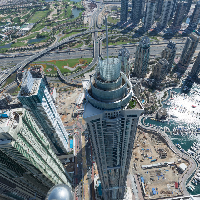 """""""The Marina torch tower shot from the rooftop of the princess tower"""" stock image"""