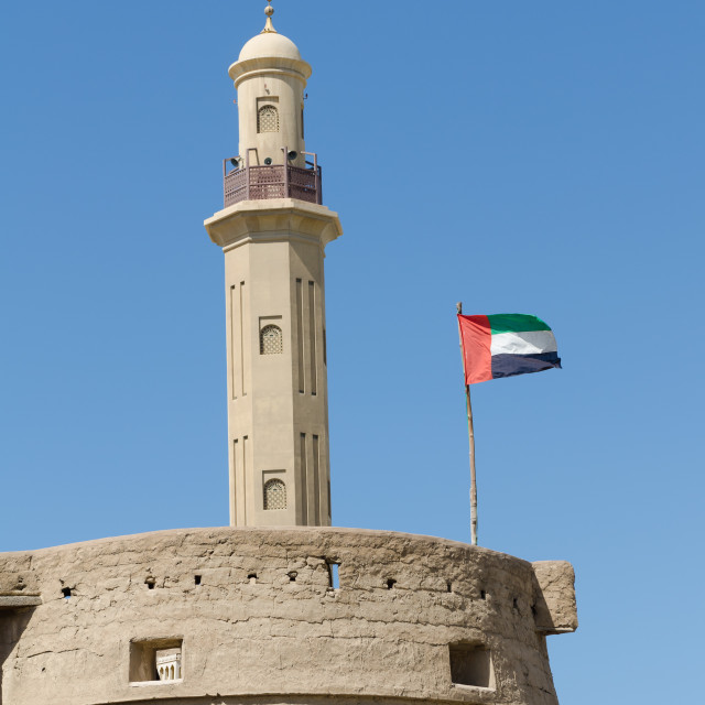 """""""bur dubai mosque and old history museum with the use flag"""" stock image"""