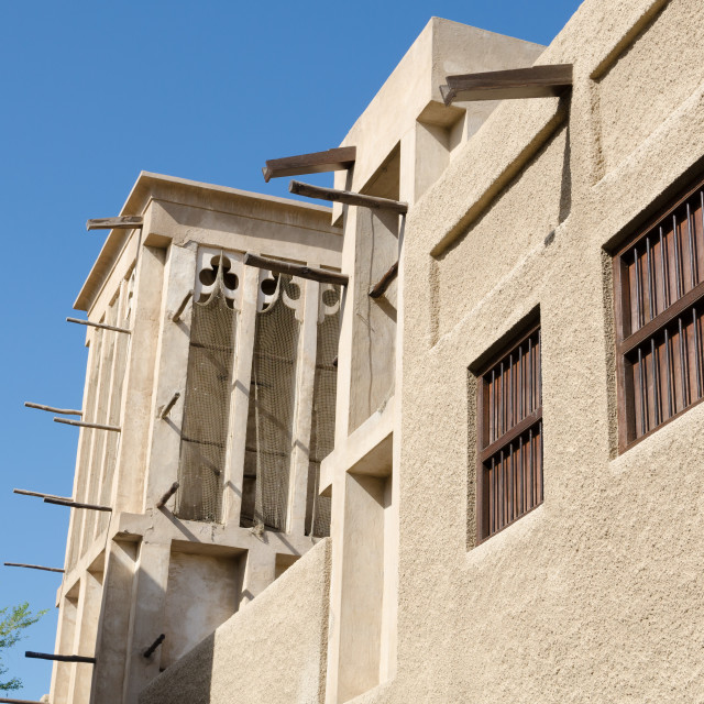 """""""old town dubai traditional cooling tower buildings"""" stock image"""