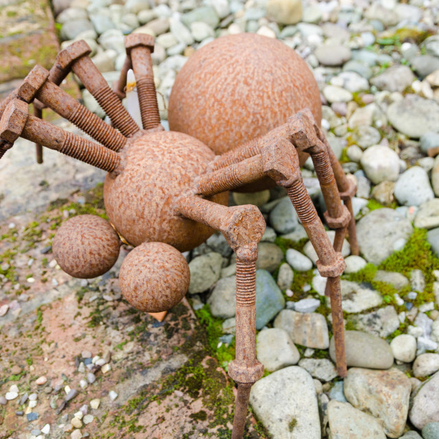 """""""rusty metal spider made out of scrap metals"""" stock image"""