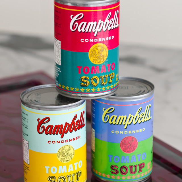 """""""campbell'campbells condensed tomato soup tinss, can, canned, condensed, container, illustrative editorial, liquid, meal, preserved, soup, tomato, tins, limited edition,"""" stock image"""