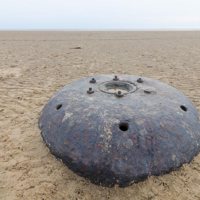 """big metal world war underwater contact mine on a beach"" stock image"