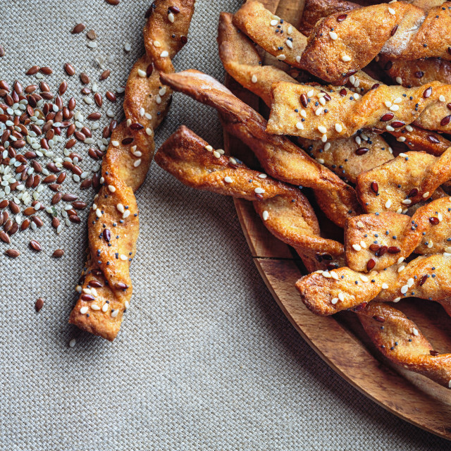 """""""Bread Sticks with seeds close up"""" stock image"""
