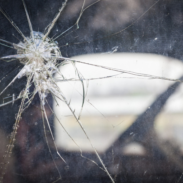 """""""Abstract Cracked Window Glass on Antique Truck with Selective Focus.."""" stock image"""