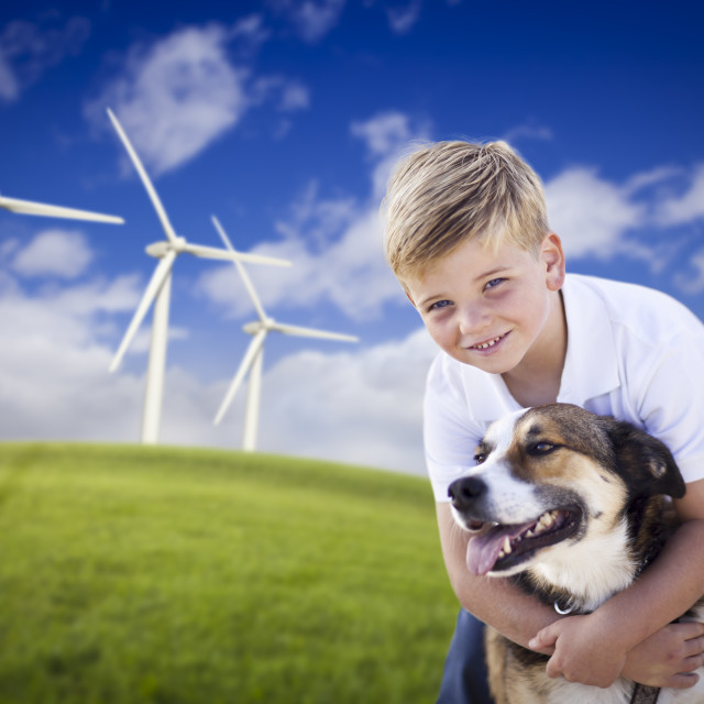 """""""Handsome Young Blue Eyed Boy and Dog Playing Near Wind Turbines and Grass Field."""" stock image"""
