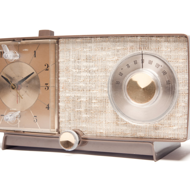 """Vintage Clock Radio Facing Left Isolated on a White Background."" stock image"