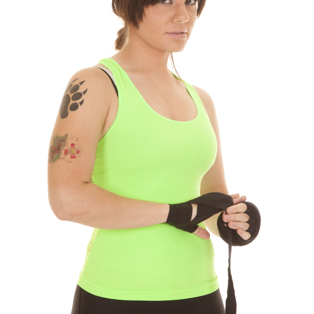 """woman boxer wrap hand"" stock image"